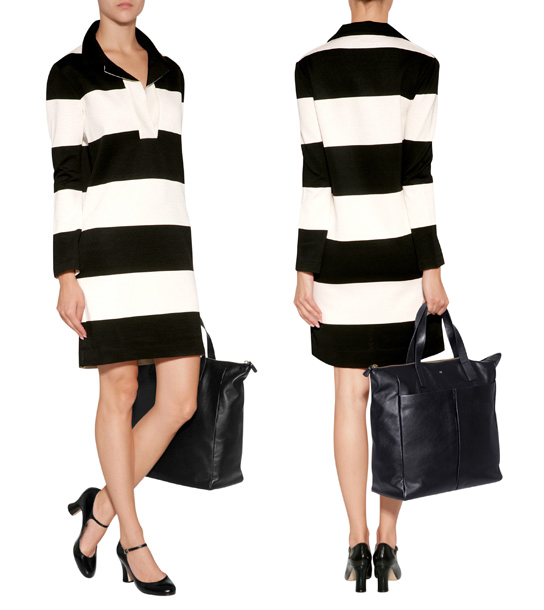 SONIA RYKIEL black off white stripe knit dress long sleeves