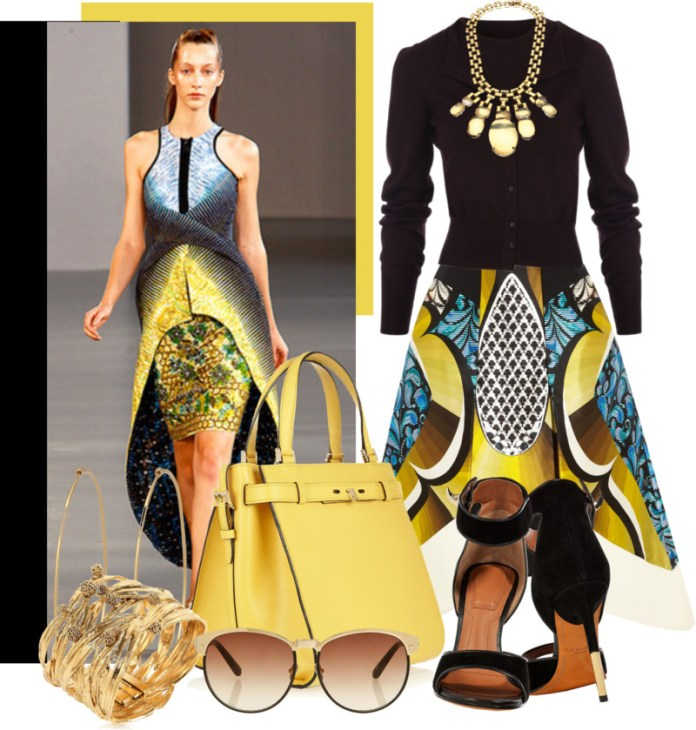 Valextra B-Cube textured-leather tote yellow handbags outfit