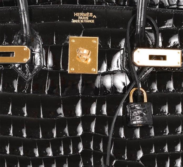 Hermes Black Porosus Crocodile 35cm Birkin Bag Gold Hardware