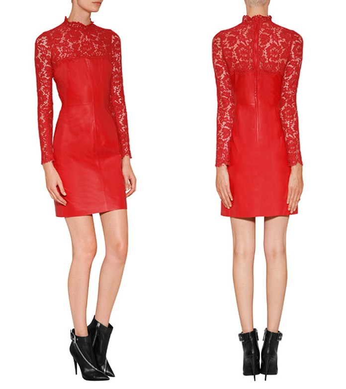 Valentino red Leather Lace long-sleeved fitted short Dress