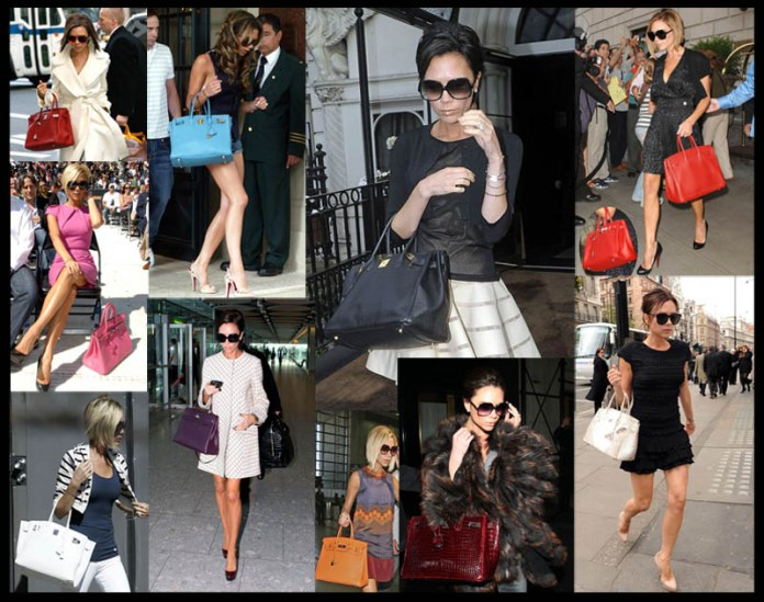 Victoria Beckham with some of her Hermes Birkin bags