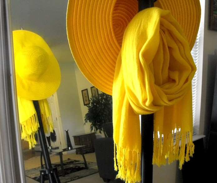 Yellow sunhat and yellow scarf