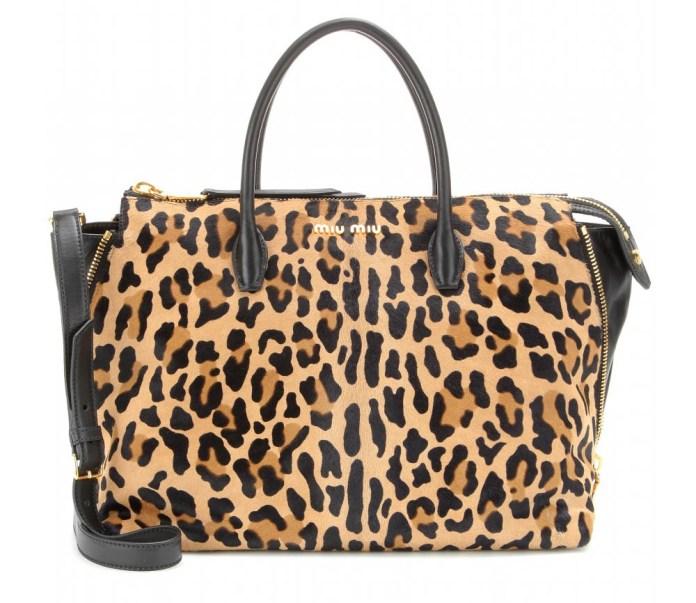 Miu Miu Leopard-print pony hair tote bag