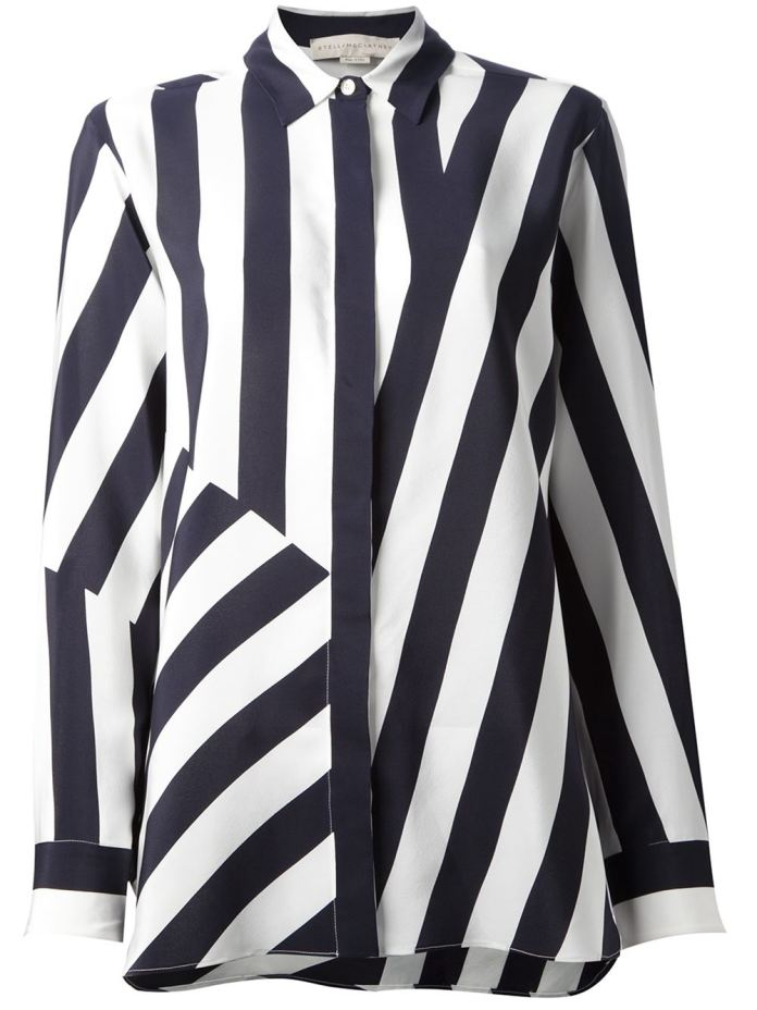 Black and white silk shirt from Stella Mccartney