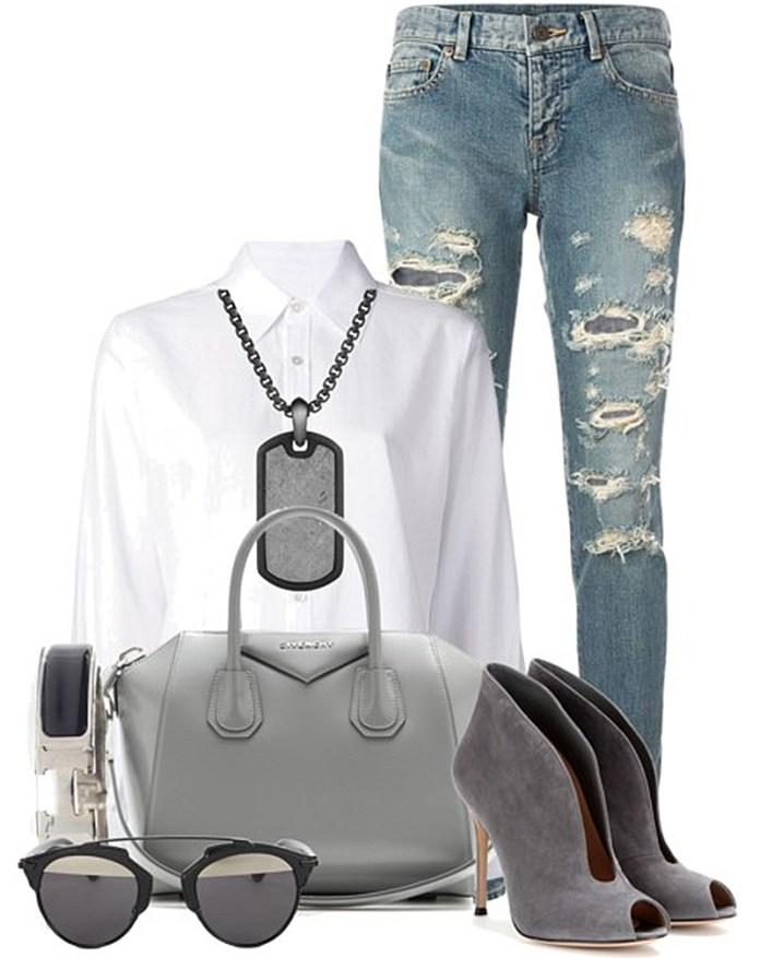 outfit with Pearl grey givenchy Antigona tote bag