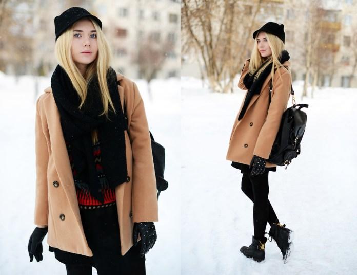 Blogger Valeriya Volkova from Votkinsk Russian Federation wears a SheInside Camel Notch Lapel Long Sleeve Double Breasted Coat