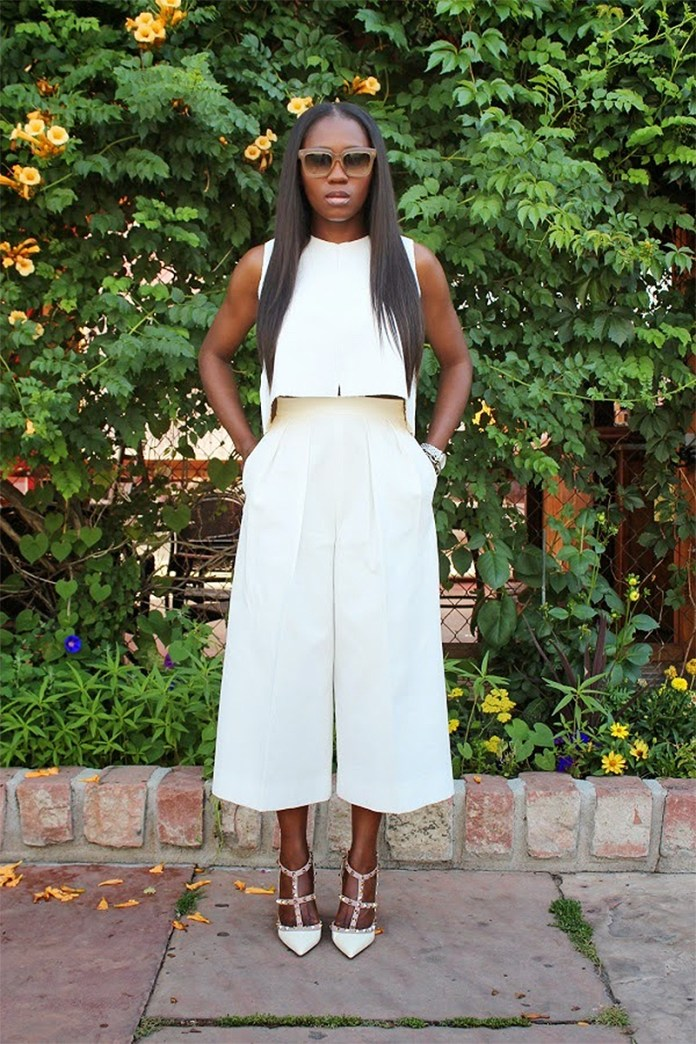 Ranti Onayemi wearing off white Zara cropped top and culottes with Valentino sandals and Celine clutch