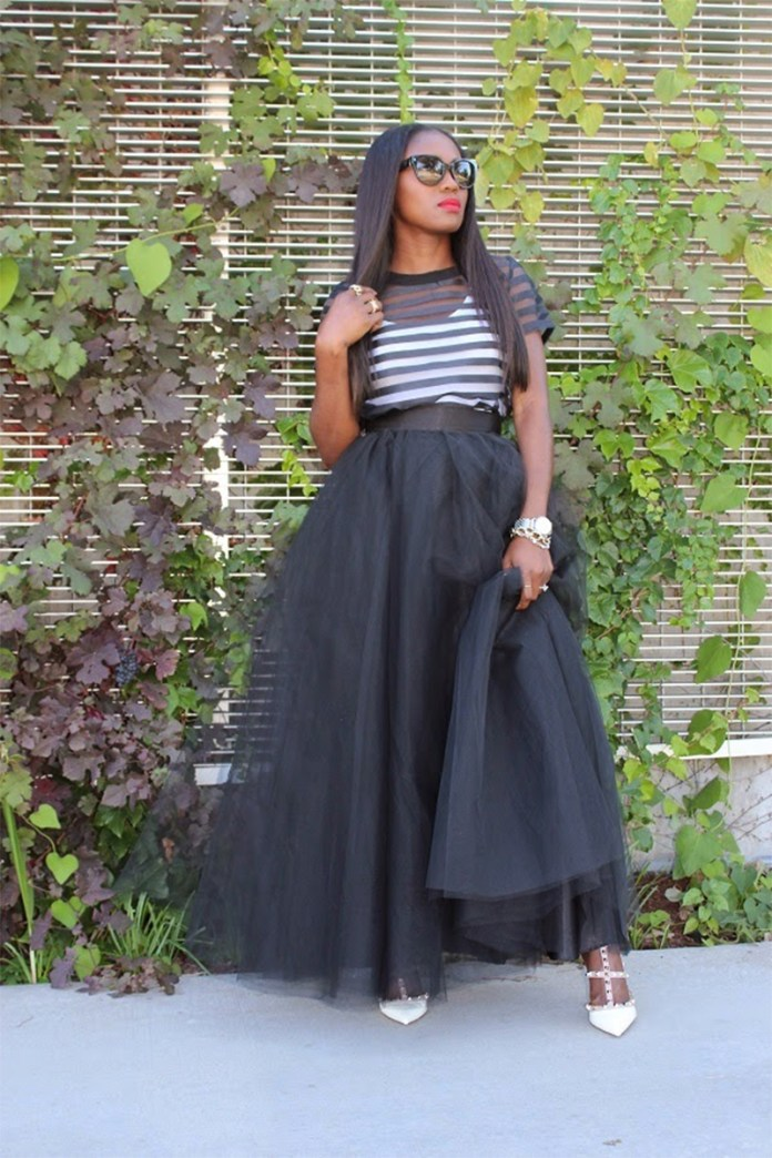 Ranti Onayemi wearing the Wendy black maxi tulle skirt with girls on Film Sheer Panel Boxy Crop Top