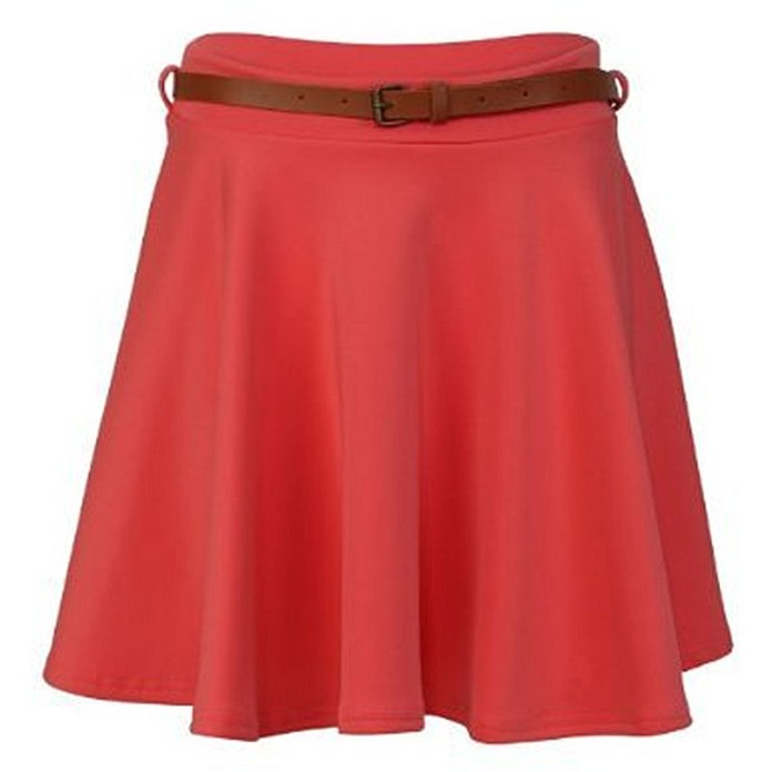 Crazy Girls Womens Ladies Belted Skater Pleated Jersey Plain coral Party Skirt