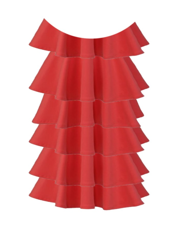 tiered dress mock up for crepe de chine shimmer salmon fabric