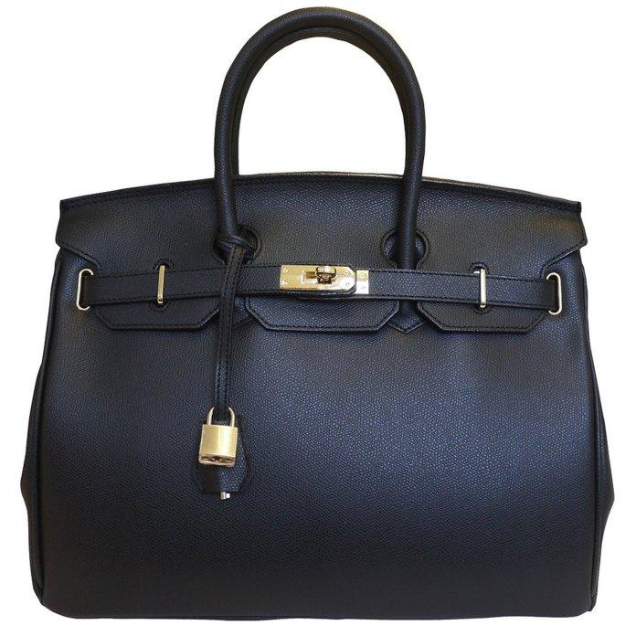 Carbotti Birkin Inspired Style Classico Leather Handbag 35cm Black