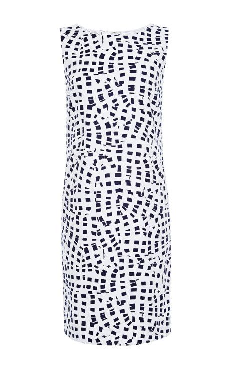 Oscar de la Renta Printed Cotton-Blend Shift Dress White