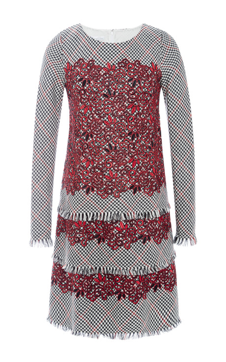 Oscar de la Renta Tiered Wool and Guipure Lace Dress Cardinal