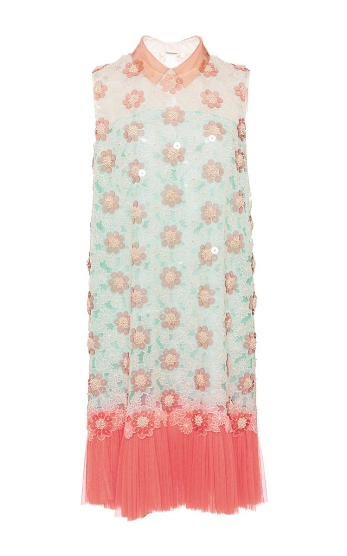DELPOZO multicolor Embroidered Silk Organza Sleeveless Dress