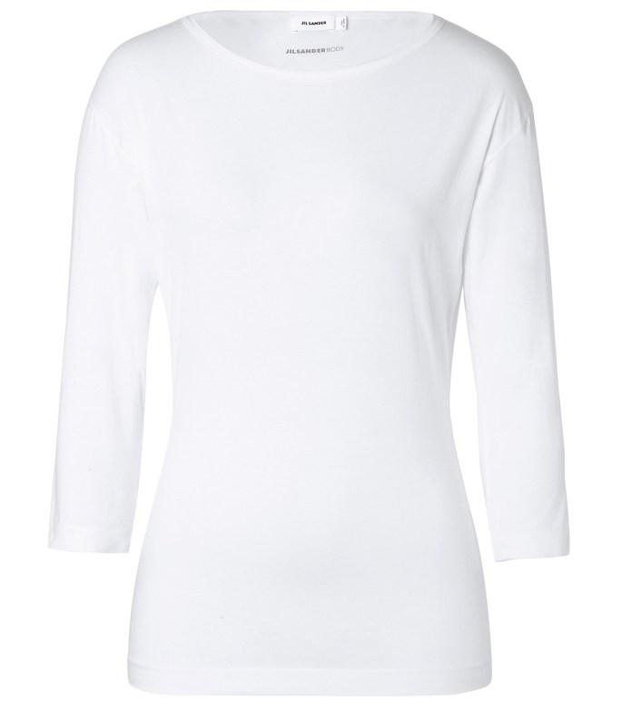 JIL SANDER Stretch Cotton Boat Neck T-Shirt