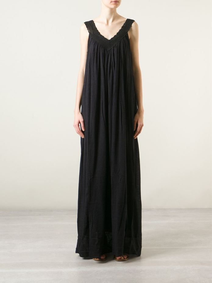 Mes Demoiselles crochet neck maxi dress