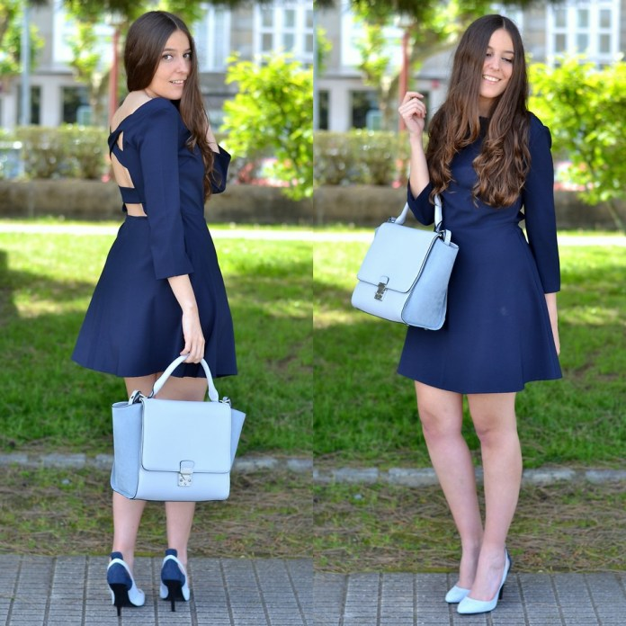 Yudani Pousada from Spain wears powder blue pumps with a blue dress