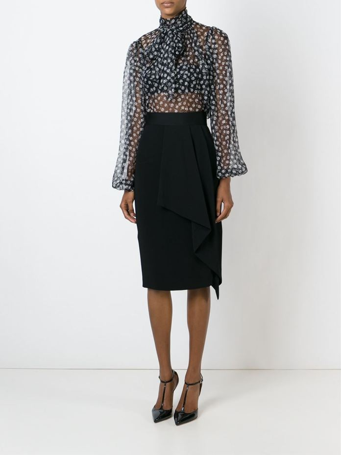 Dolce Gabbana sheer floral blouse wear to work