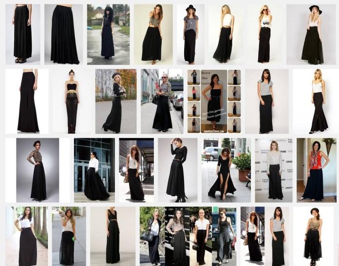 women wearing black maxi skirt