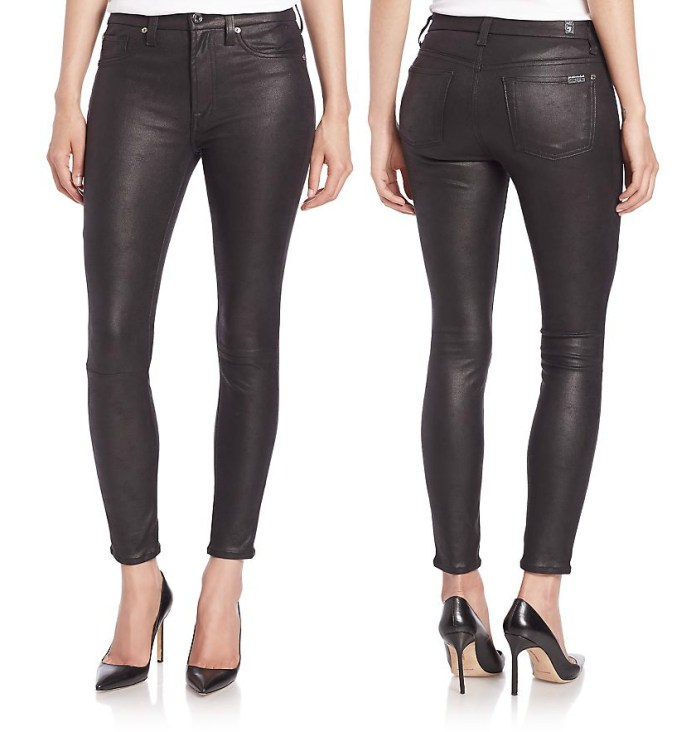 7 For All Mankind black Coated High-Rise Ankle Skinny Jeans