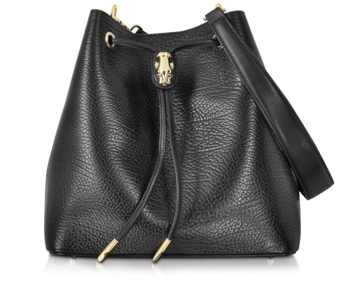 Class Roberto Cavalli Pantera Nera Black Embossed Leather Satchel Bag