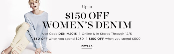 Cyber Monday sale saks fifth ave 150 off 500 designer jeans sale