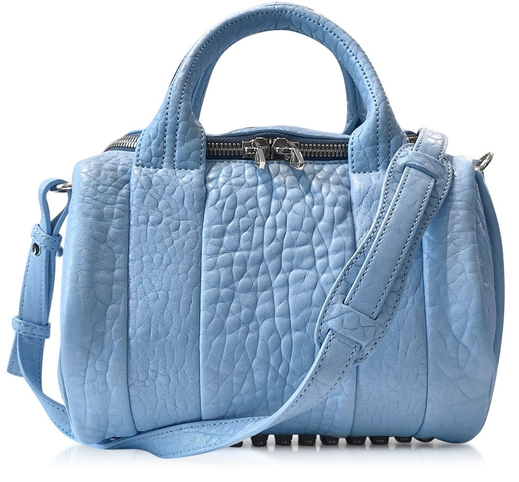 Alexander Wang light blue Rockie Atlas Pebbled Leather Satchel