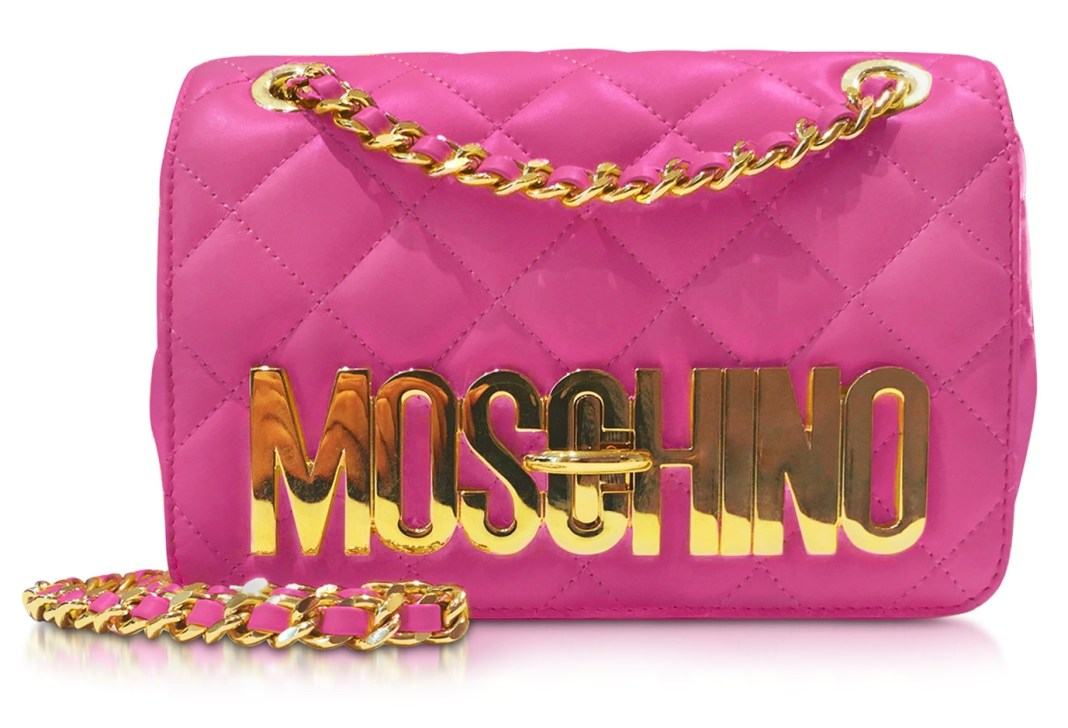 Designer handbags - Moschino Quilted Nappa Leather Golden Logo Shoulder Bag with Chain