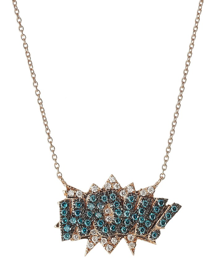 Diane Kordas necklace WOW 18kt Rose Gold blue white diamonds
