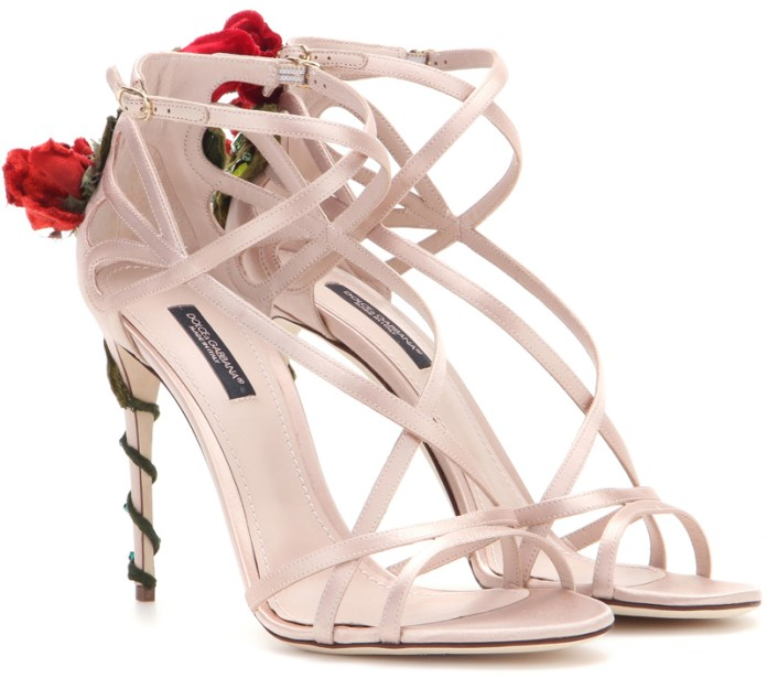 Dolce and Gabbana Embellished satin sandals