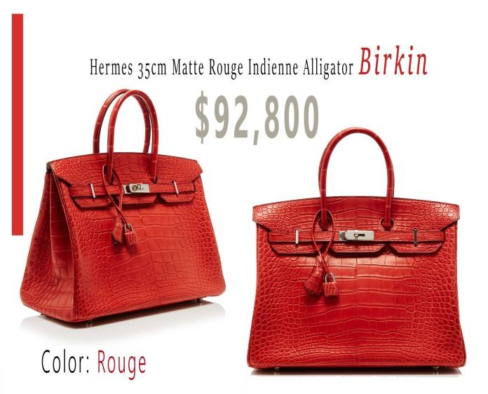 Hermes 35cm Matte Rouge Indienne Alligator Birkin 92800