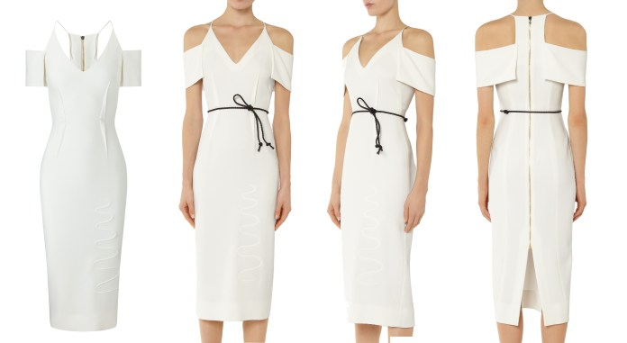 Roland Mouret dresses white Goldney halterneck dress with dropped cold shoulder sleeves