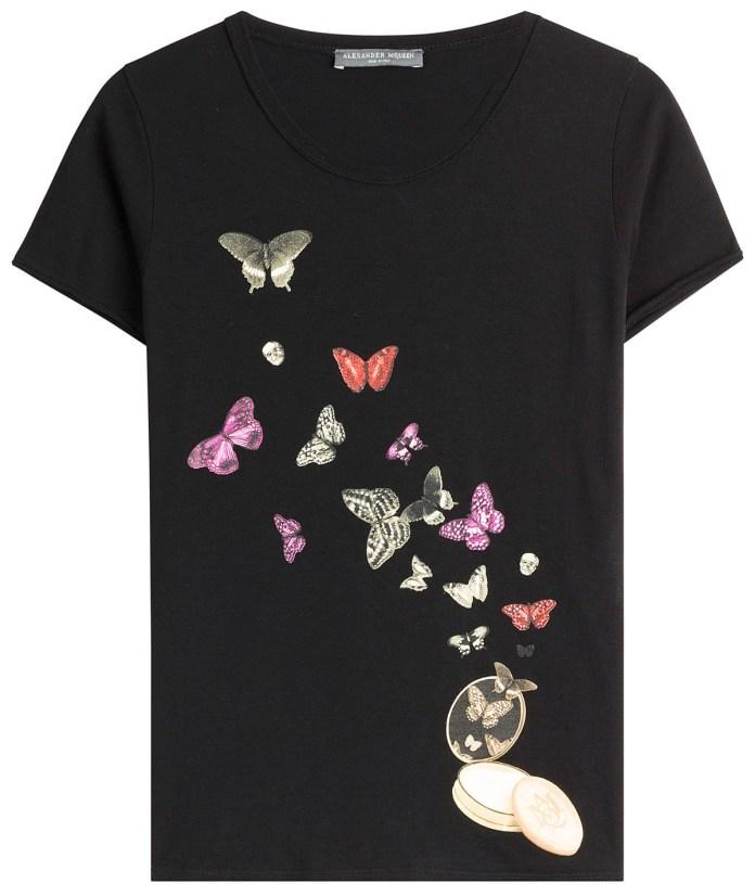 Alexander McQueen black cotton butterfly print t-shirt
