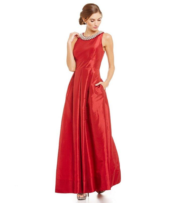 Sangria Beaded Necklace Taffeta Ball Gown
