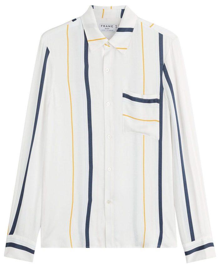 Frame denim striped blouse with silk