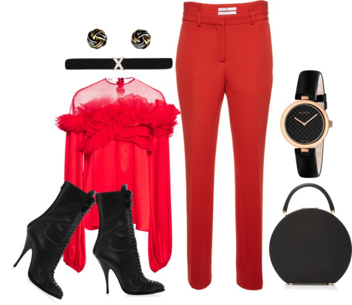 Givenchy red Silk Satin Ruffled Top Givenchy Slim Leg Trousers