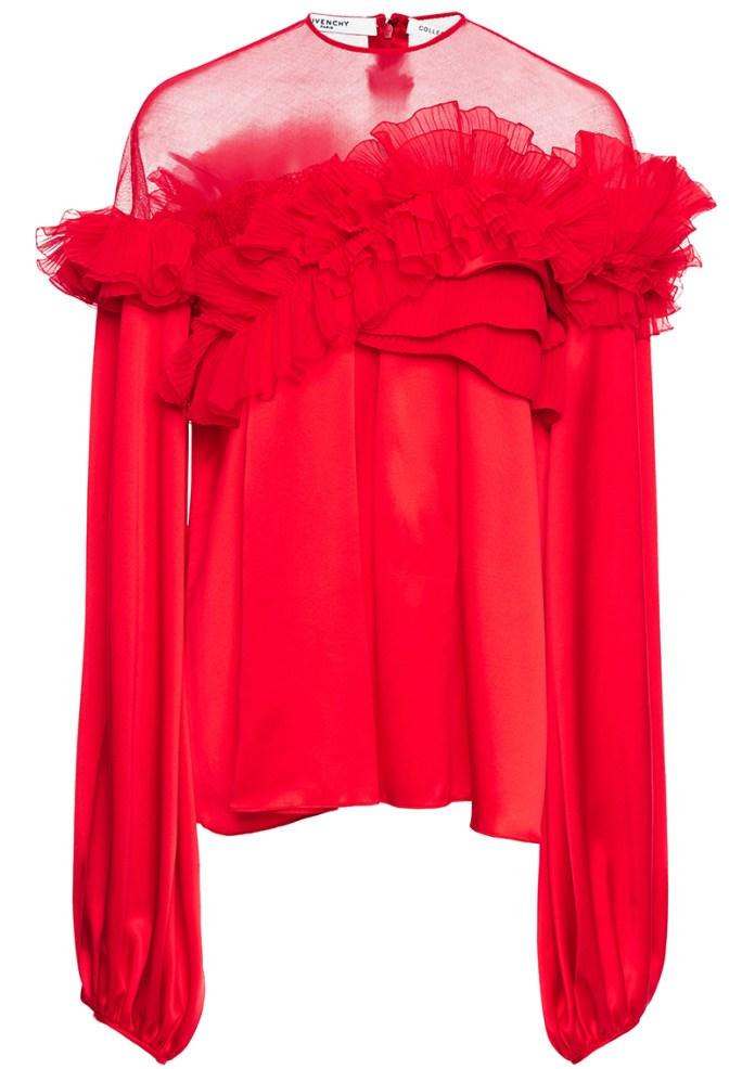 Givenchy red Silk Satin Ruffled Top