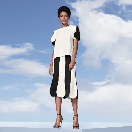 Victoria Beckham Target collection black white womens scallop sleeve top matching scallop midi skirt