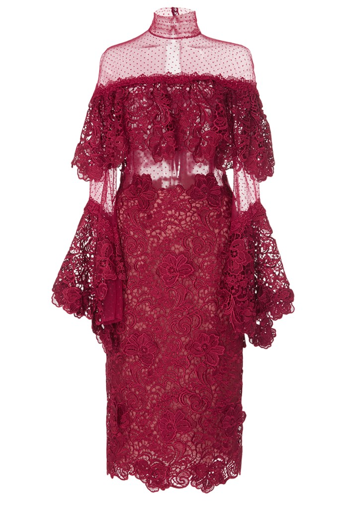 Costarellos Guipure lace tiered ruffle burgundy red cocktail dress