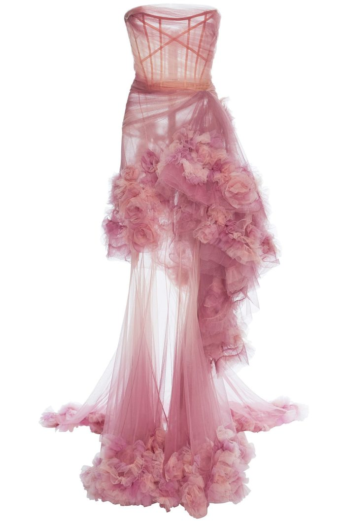 Marchesa Ombre Tiered Gown sheer strapless organza 3d flowers dress