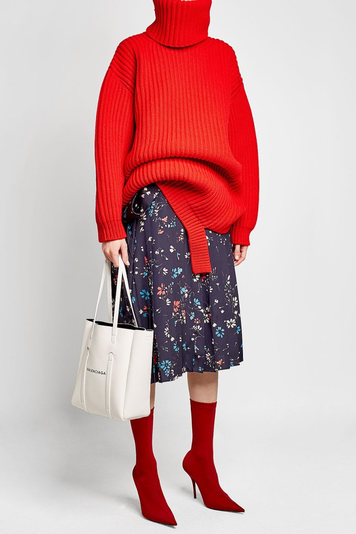 Balenciaga red Deconstructed Virgin Wool Turtleneck Pullover rollneck sweater