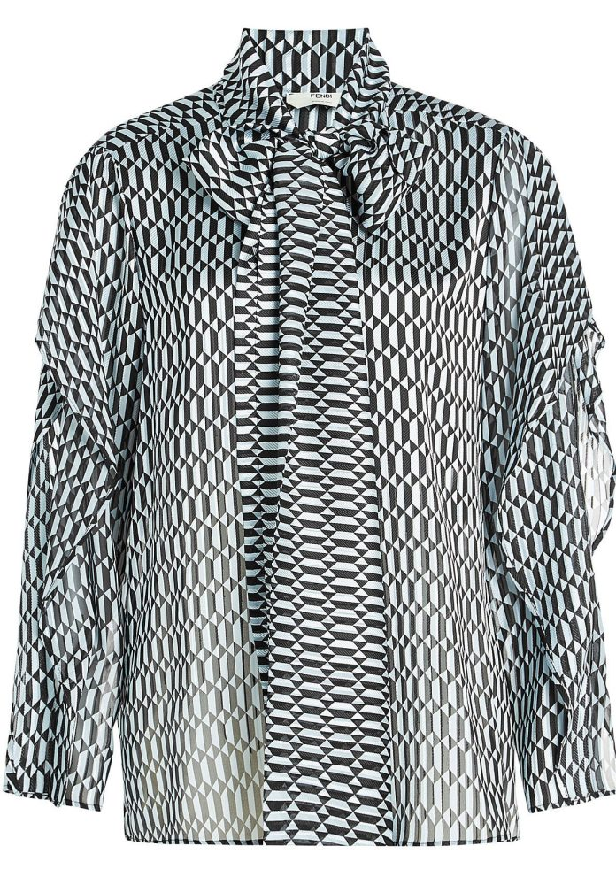Fendi blouses printed blouse with silk