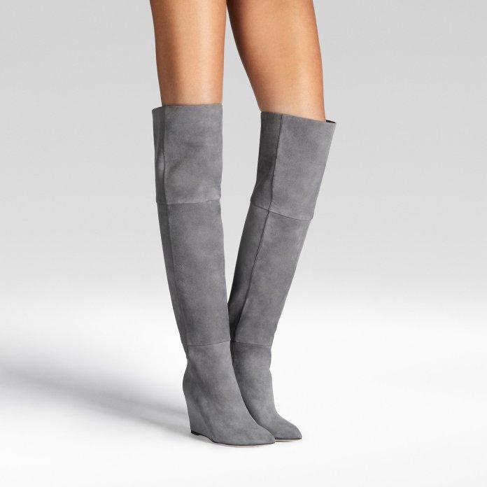 Tamara Mellon verve grey suede wedge heel boots