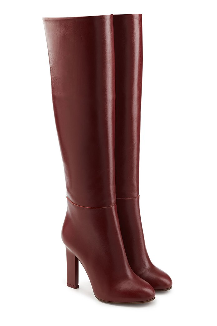 Victoria Beckham burgundy knee high boots