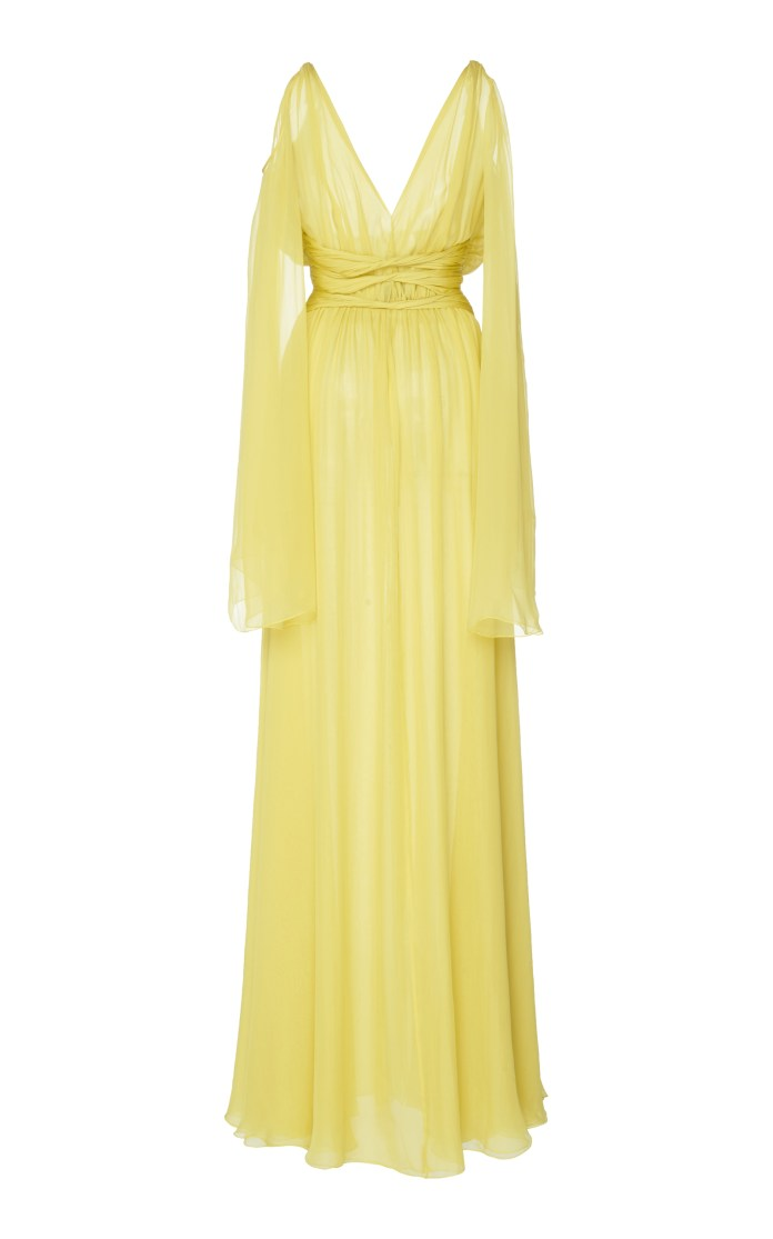 Dundas draped sleeve yellow dress