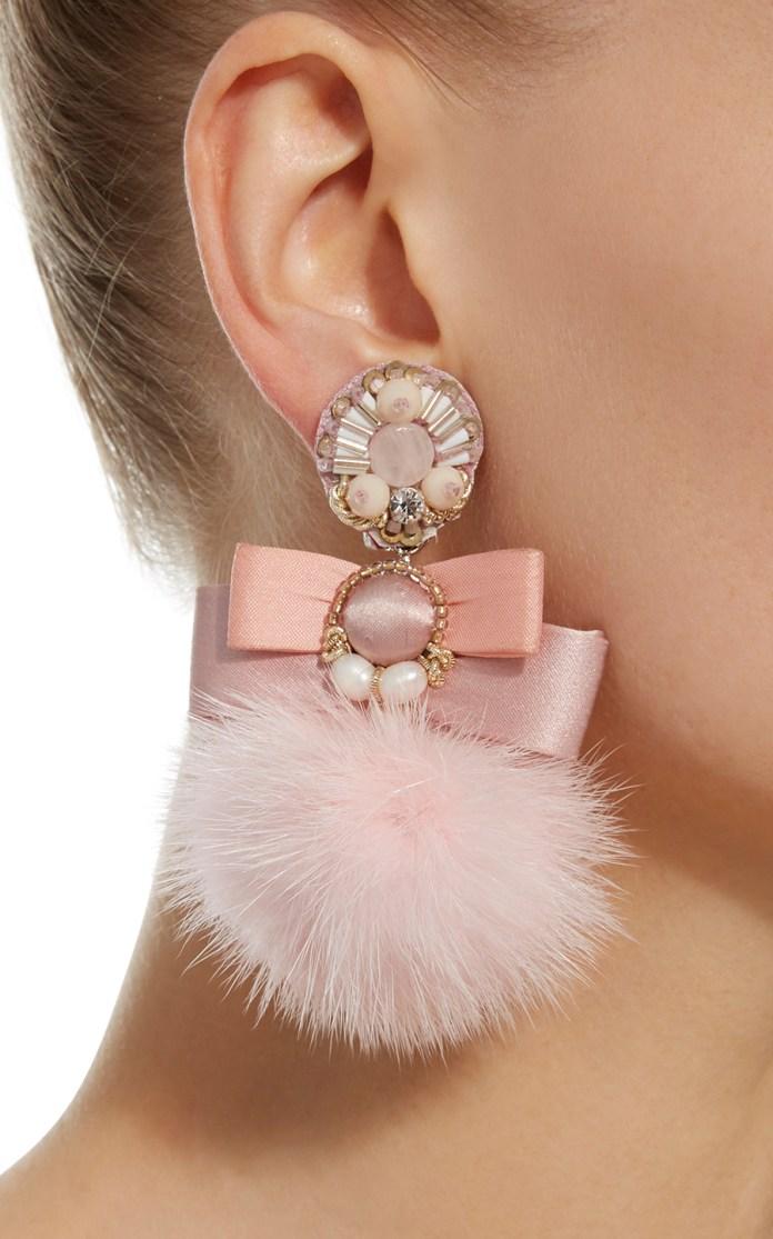 Pale Pink Fur Pom Ranjana Khan Earrings Stylish clip on earrings