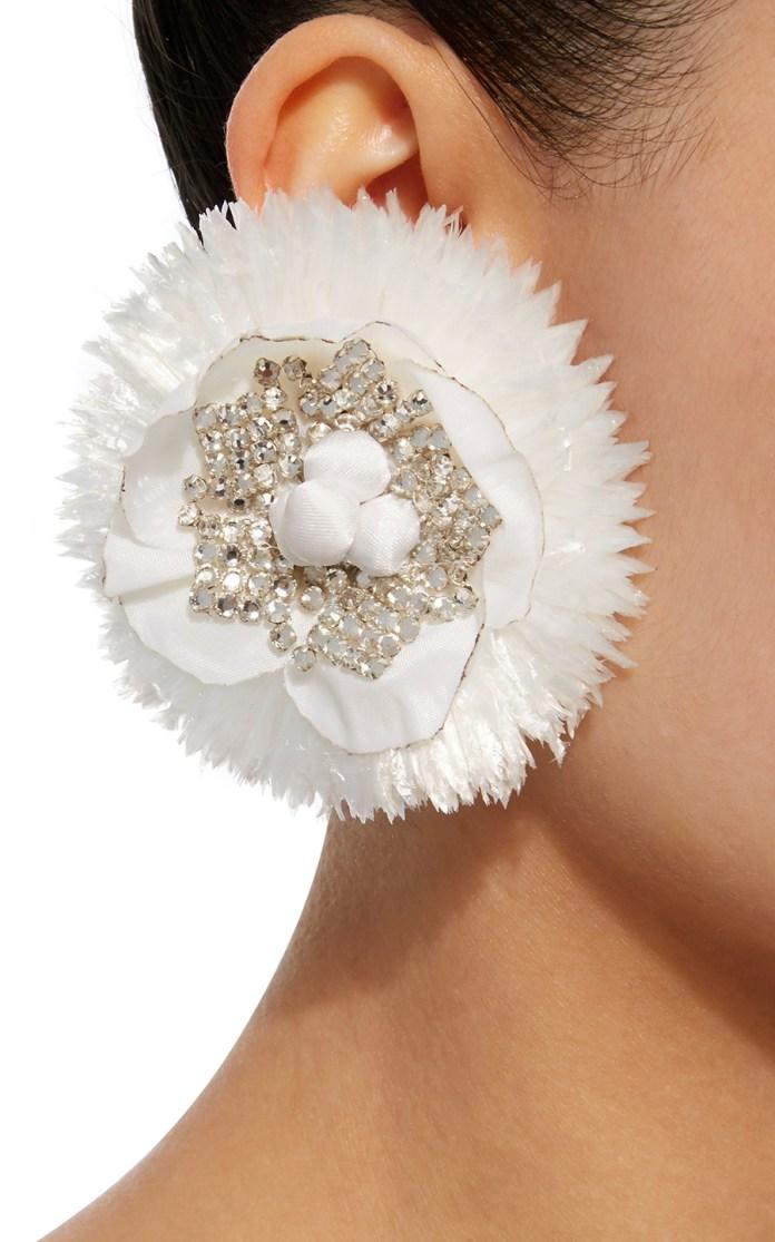 Ranjana Khan earrings White Circle Crystal stylish clip on earrings