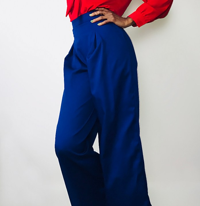 custom made blue wide leg pants