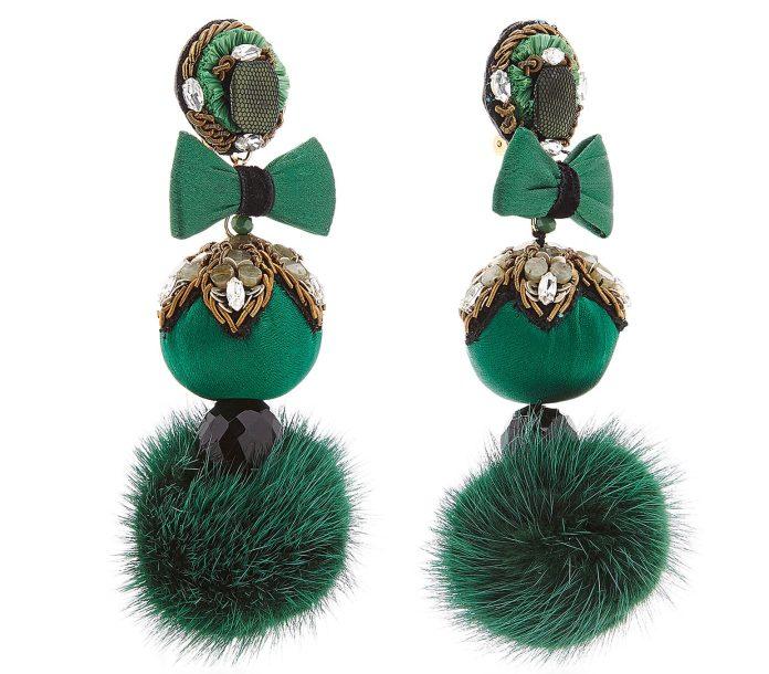 green fur pom earrings ranjana khan