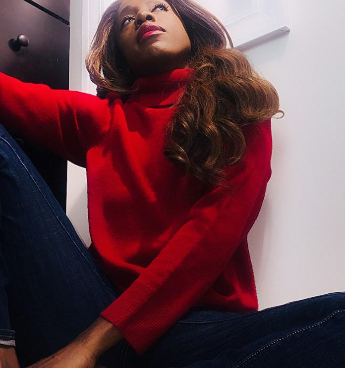 monica red turtleneck sweater february 4 2018